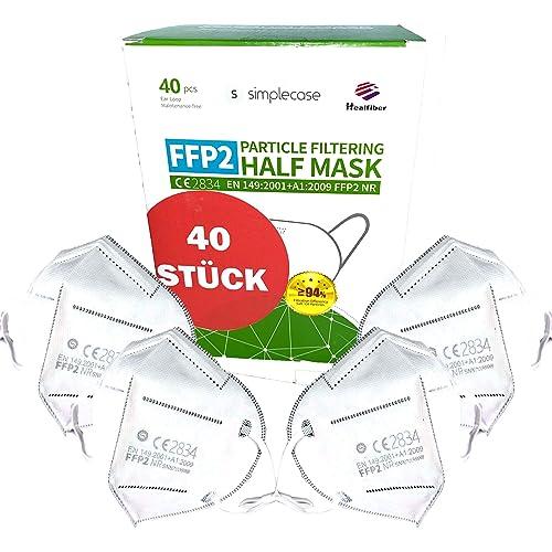 SIMPLECASE 40 pezzi - Maschera FFP2, maschera di protezione respiratoria, maschera con filtro antiparticolato, certificata UE CE dall'ente ufficialmente denominato CE2834