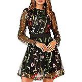 Edjude Vestidos Casual Mujer Manga Larga con Cuello en V Vestido Estampado Floral Leopardo Fiesta Vestido Largo con Lunares M
