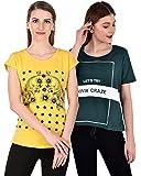 NIVIK Women's T-Shirt (Pack of 4) (CMB2-TSHIRT-YLW-GRN-L_Green_Large)