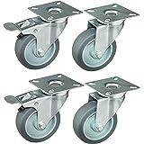 HRB Transportwielen 75 mm, meubelwielen, totale draagkracht 240 kg (4 zwenkwielen, 2 met rem, 2 zonder)
