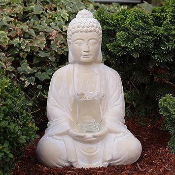 Betender Buddha Figur Sitzend 40 Cm Gross Mit Windlicht Meditierende Budda Statue Als Wohnzimmer Deko