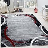 Vloerkleed Woonkamer Rand Laagpolig Gemêleerd Modern Hoogwaardig Grijs/Zwart/Rood, Maat:200x280 cm