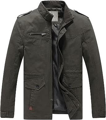 WenVen Men's Lightweight Windbreaker Stand Collar Cotton Jackets Multi-Pocket Casual Coat