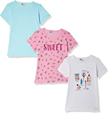 Qube By Fort Collins Girls' Animal Print Regular Fit T-Shirt (Pack of 3)
