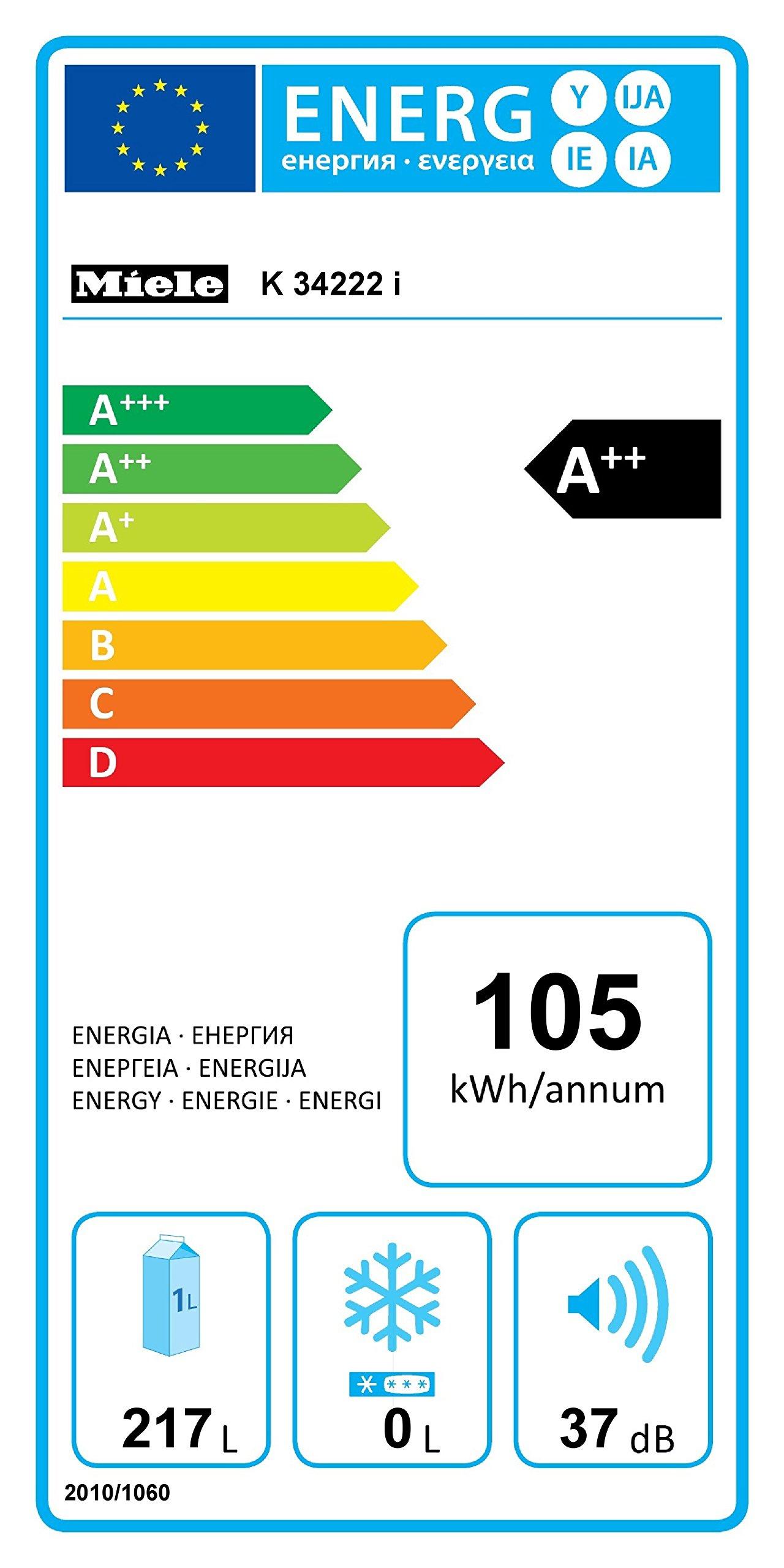 Miele K 34222 i Einbau-Kühlschrank / 122 cm hoch / 218 l Kühlzone / leichte Reinigung - ComfortClean / LED-Beleuchtung…