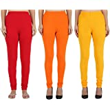 Girly Girls Pack Of 3 100% Cotton Stretchable Women's Full length Skinny Fit Regular/Casual Wear Legging - Set Of 3…