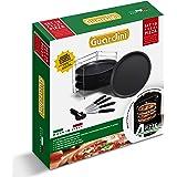 Guardini Scatola regalo 10 pezzi pizza: 1 Griglia porta tegami+4 Tegami pizza Ø32cm+4 Coltelli+1Rotella, Acciaio con rivestim