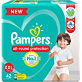Pampers All round Protection Pants, Double Extra Large size baby diapers (XXL) 42 Count, Anti Rash diapers, Lotion with Aloe