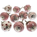 Mango Tree - Blandad uppsättning rosa och vita keramiska skåpknoppar x pack 10 (MG-202)