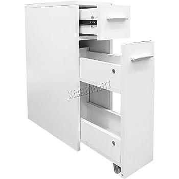 WestWood Slimline Bathroom Kitchen Slide Out Storage Drawer Cabinet Slim  Thin Cupboard Unit BC07 White New
