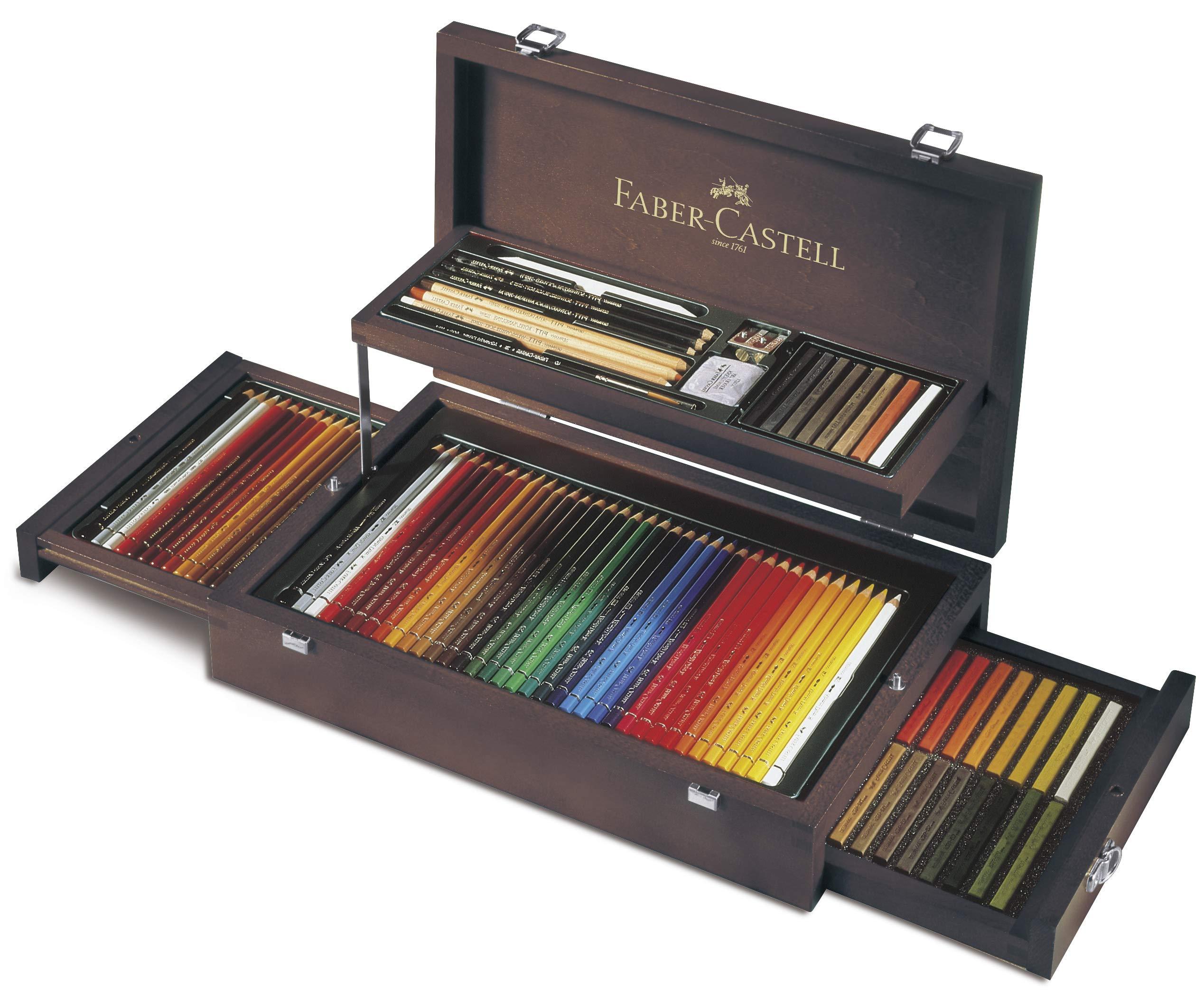 Faber-Castell 110088 – Estuche de madera de 24 piezas con equipo básico de las 3 gamas, ecolápices polychromos, tizas, grafitos y accesorios