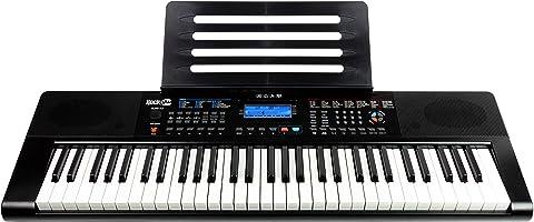 RockJam RJ461AX 61-Tasten-Alexa-tragbare digitale Klaviertastatur mit Notenständer, Netzteil, Simply Piano App und Note...