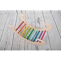 Pi-Rockkids gioco a dondolo in legno rainbow montessori waldorf Pikler regalo per bambini arrampicata dai 6 mesi in poi…