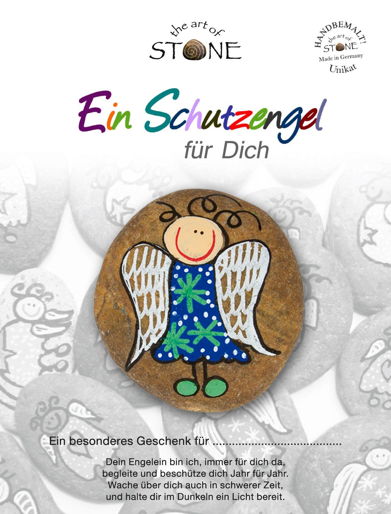 The Art of Stone - Schutzengel Blau-grüne Sterne - Glücksstein mit Engel - Handbemalter Naturstein als Glücksbringer…