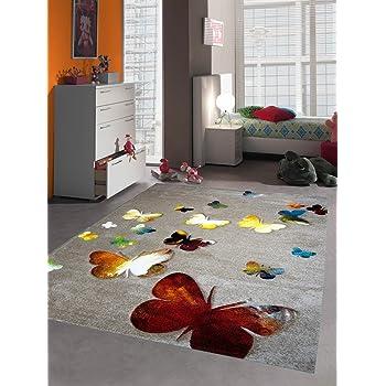 Kinderteppich Spielteppich Kinderzimmer Teppich Schmetterling Design Mit  Konturenschnitt Braun Beige Rot Orange Gelb Creme Schwarz Türkis