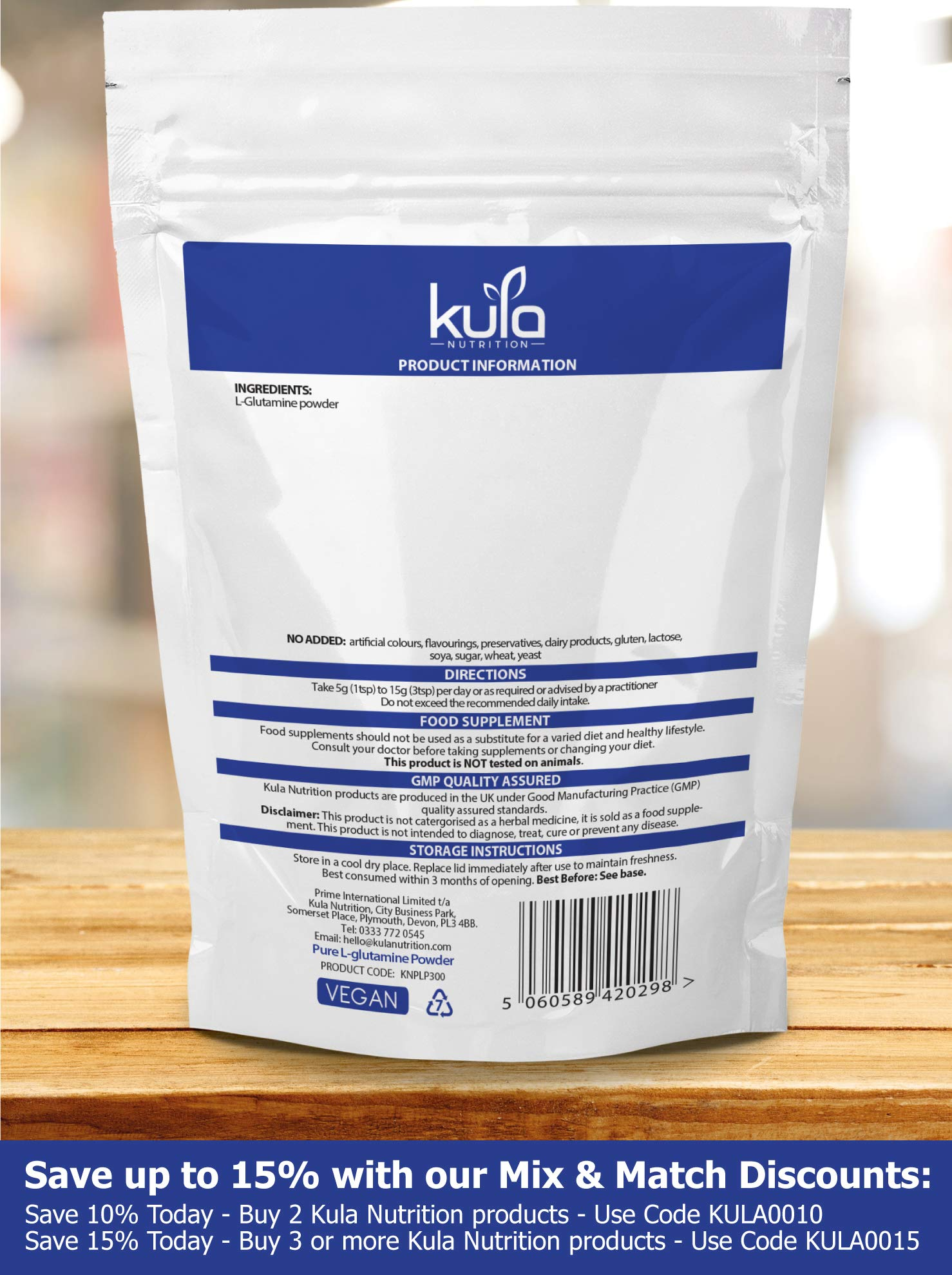 81FMnEz5X5L - Kula Nutrition Pure L Glutamine Powder - 300g (60 Servings) - Amino Acid Powder, Protein Building Blocks - Supplement…