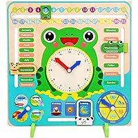 WISHKEY 7 in 1,Wooden Calendar Clock Preschool Educational Learning Toy for Kids
