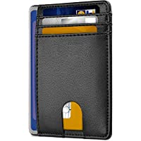 Mens Wallet, Slim RFID Blocking Minimalist Credit Card Holder (Black), Holds up to 7 Cards and Bank Notes, Ideal for…