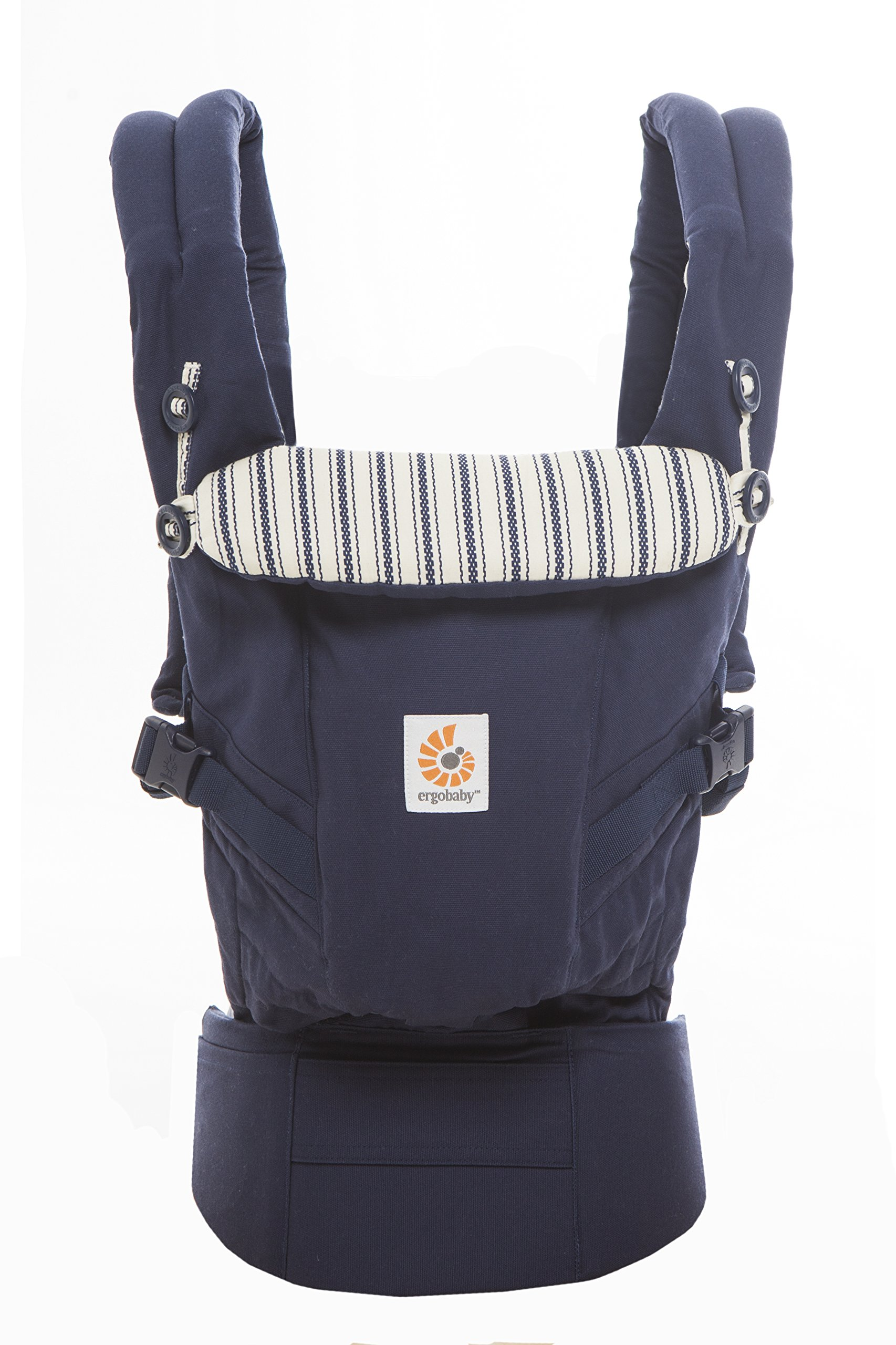 Ergobaby Baby Carrier for Newborn to Toddler, Admiral Blue Adapt 3-Position Ergonomic Child Carrier Backpack Ergobaby Carrier for newborns - The ergonomic bucket seat gradually adjusts to your growing baby, to ensure baby is seated in a natural frog-leg position (M-shape position) from newborn to toddler (3.2-20kg / 7-45lbs). NEW - Now with lumbar support. Long-wearing comfort for parents with even weight distribution between hips and shoulders. Lumbar support waistbelt that can be adjusted to the height of the carry position for extra, long-wearing comfort. 3carry positions: front-inward, hip and back. The carrier has a padded, foldable head and neck support and a tuck-away baby hood for sun protection (UPF50+) and privacy. It is possible to breastfeed in the carrier. 2