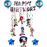 Decoracion Cumpleaños Sonic Globos de Sonic Feliz Cumpleaños del Pancarta de Sonic the Hedgehog Sonic Remolinos Colgantes de