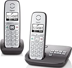 Gigaset E310A Duo Telefon - Schnurlostelefon / 2 Mobilteile - Grafik Display - Grosse Tasten Telefon - Anrufbeantworter -  Freisprechfunktion - Analog Telefon - schwarz