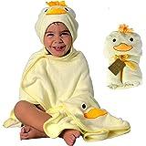 Toalla HECKBO® con capucha de pollito en 3D + toallita GRATIS | 0-6 años | Cierre mediante 2 botones de clip | Dimensiones: 9