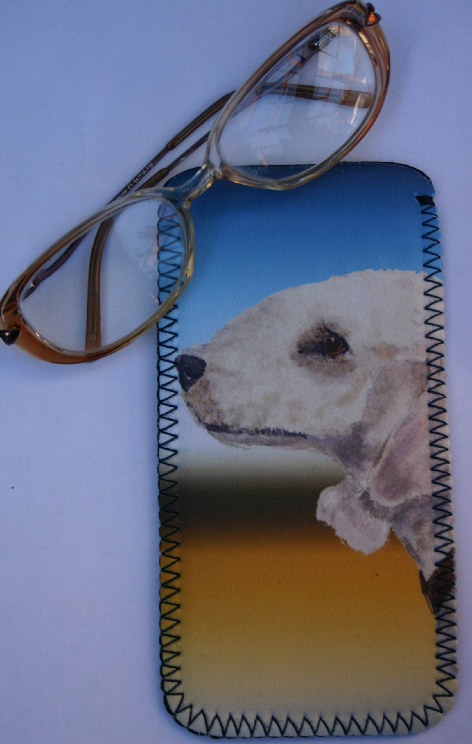 BEDLINGTON TERRIER DOG GLASSES CASE POUCH design Sandra Coen