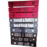 Personalised pet toy box, dogs, cats, wooden, 5 colour, medium size, 30x40cm,