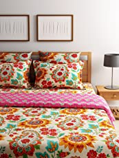 Turu Premium Cotton 5 Piece Reversable Bedding and Quilt Set 1 Comforter + 2 Cushion Covers + 2 Pillow Covers