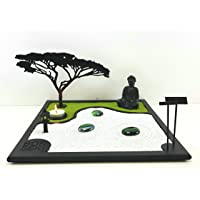 Bonseki® Giardino Zen da tavolo 30 x 30 cm in legno, buddha, la candela proietta l'ombra del bonsai sulla parete…