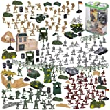 300-Piece Army Soldier Toy Figures Set with Tanks, Planes, Flags, Battlefield Accessories, 4 Colours, Plastic