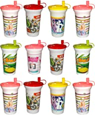 Kotak Sales Kids Sipper Straw Lid Glass with Milk Juice Water Shaker 450ML Perfect Return Gift for Kids Birthday Party (12 Pcs)