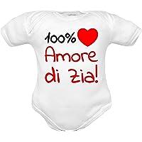 body neonato divertenti Amo Mamma e Papà, 100% amore di Zia, Zii, Nonna e Nonni a manica corta e manica lunga