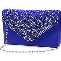 Brinny Damen Clutch mit Strass-Steinen Elegante Kettentasche Abendtasche Unterarmtasche Umhängetasche Crossbody Damen…