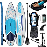 AQUA SPIRIT iSUP Inflatable Stand up Paddle Board for Adult Beginners/Intermediate with Backpack, Leash, Paddle, Changing Mat