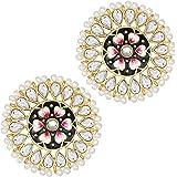 I Jewels 18k Gold Plated Round Kundan Pearl Meena Work Handcraft Stud Earring for Women