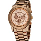 Akribos XXIV Women's Multifunction Rose Gold Bracelet Watch - Beveled Bezel- Brushed Dial with Date and Day Subdial - Push Bu