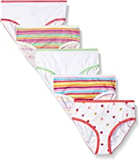 Trimfit Little Girls' 100% Cotton Tagless Assorted Briefs 5-Pack (Cupcakes: Yellow/Purple/Teal/Pink, XS)