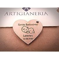 Artigianeria - Set di n°20 (o più) pezzi. Cuore in legno personalizzato con nome e data. Ideale come bomboniera o…