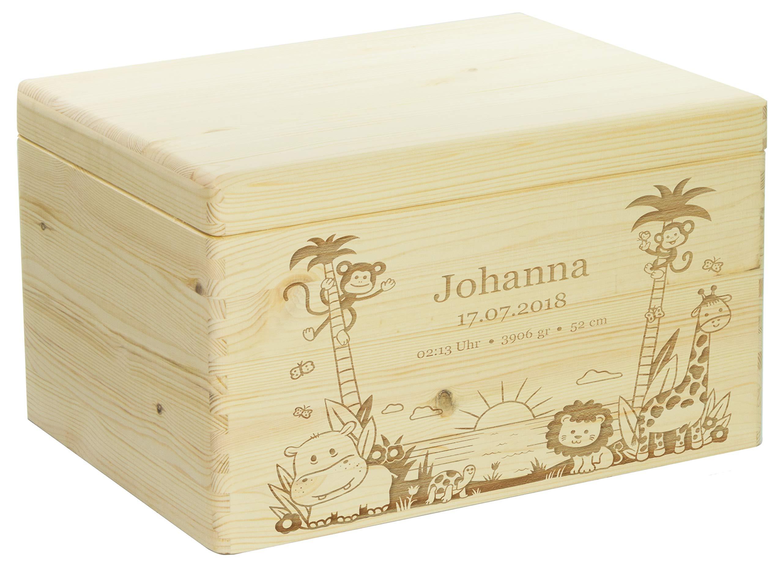 Holzkiste mit Gravur - Personalisiert mit ❤️ GEBURTSDATEN ❤️ - Naturbelassen, Größe XL - Dschungel Motiv - Erinnerungskiste als Geschenk zur Geburt - LAUBLUST® 1