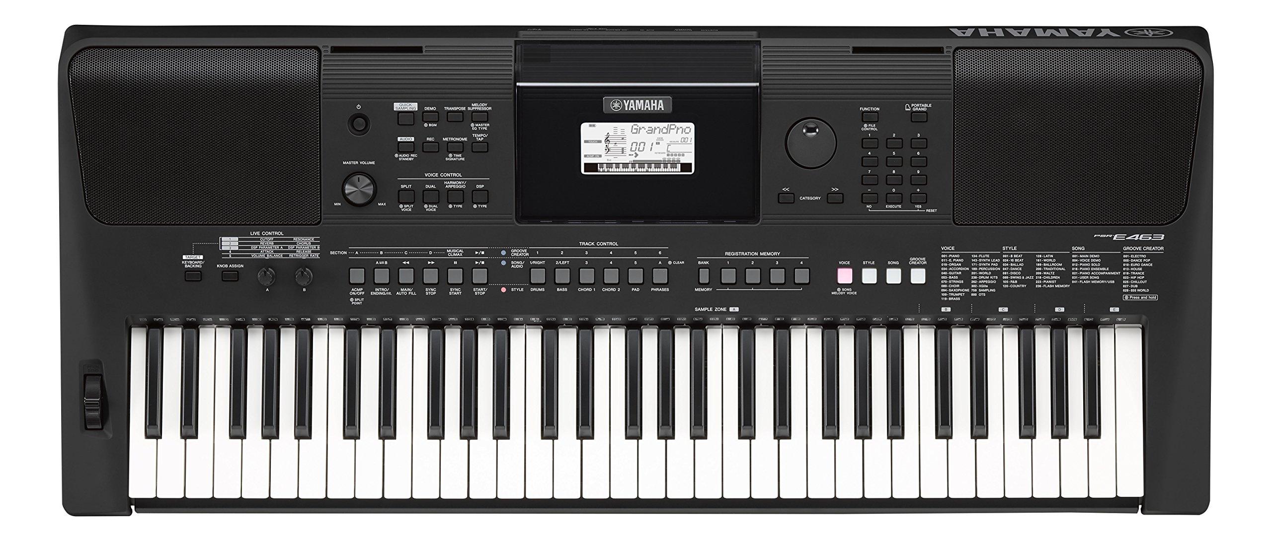 Yamaha PSR-E463 – Teclado digital portátil para principiantes, optimo para interpretar cualquier estilo de música, con 61 teclas, color negro