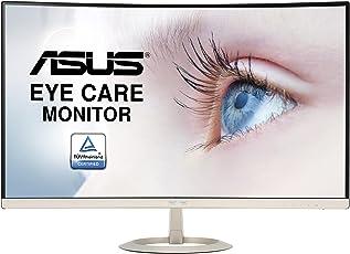 Asus VZ27VQ 68,58 cm (27 Zoll) Curved Monitor (Full HD, VGA, HDMI, DisplayPort, 5ms Reaktionszeit, Lautsprecher) schwarz/gold