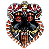 New Life Terracotta Wall Hanging Mahakal Face Mask Nazar Battu Evil Eye Protector (7 Inches)