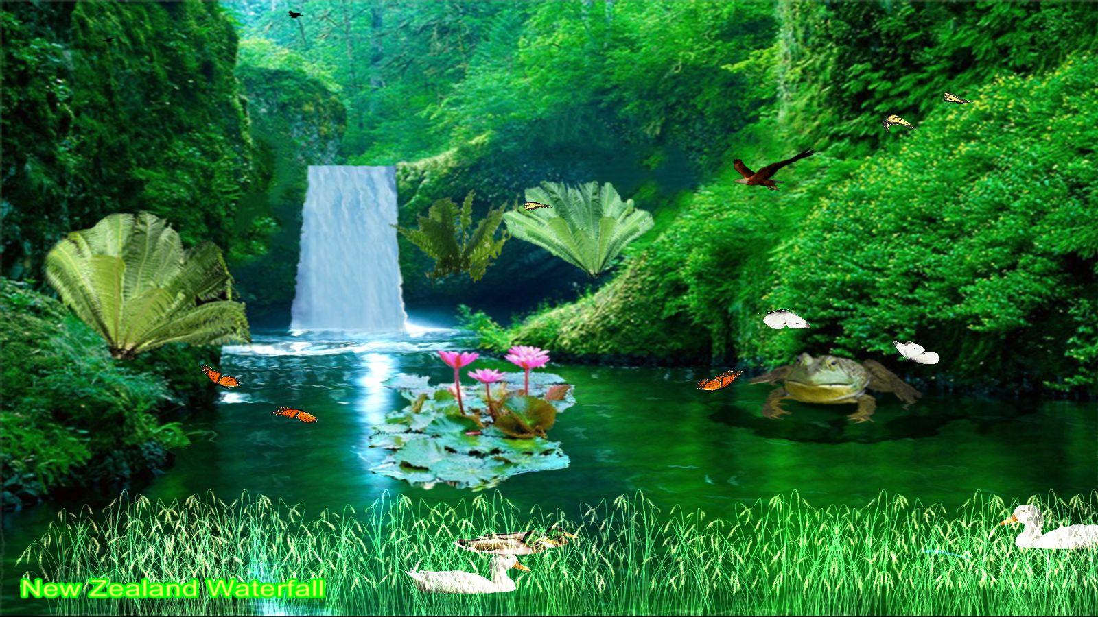 Neuseeland-Wasserfall [Download] (Tropischen Wald Hintergrund)