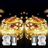 DeepDream 2 x 12 m 120 LED Guirlande Lumineuse à Pile,8 modes fil cuivre étanche IP65 Guirlande Lumineuse avec télécommande m