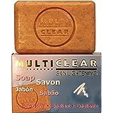 Jabón exfoliante aclarador. MULTICLEAR - 100g. Antimanchas y Antiacne. Con semilla de Melocotón. Combate puntos negros y célu