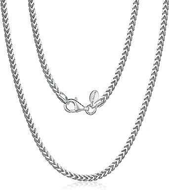 Amberta Collana da Uomo in Argento Sterling 925 Rodiato - Catena Modello Franco (Spiga) 2.5 mm - Lunghezza: 45 50 55 60 70 (cm)