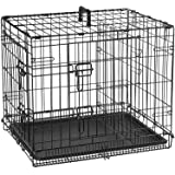 Double Door Folding Metal cage with Removable Tray and paw Protector for Dogs,Cats and Rabbits 30 inch - Central Fish Aquariu
