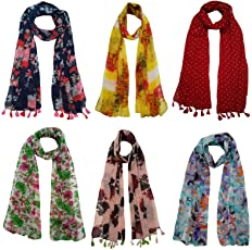 FusFus Women's Printed Trendy Stoles, Free Size(Multicolour, F098) - Pack of 6