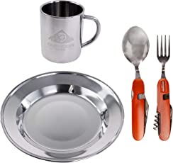 Camping Geschirrset aus Edelstahl für 1 Person | tiefer Teller + doppelwandige Tasse + 6-in-1 Campingbesteck | für Picknick, Tracking, Wandern und Outdoor